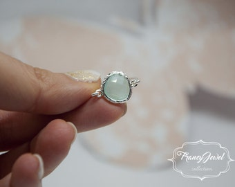 Aquamarine, romantic ring, silver ring, pale blue crystal, unique ring, handmade ring, silver plated, made in Italy, not tarnish jewelry