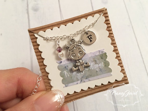 Baptism, newborn charm, baby girl, baby charm, custom necklace, personalized initial, Swarovski crystal, silver necklace, made in Italy