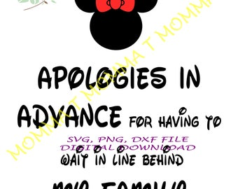 MINNIE MOUSE DISNEY world/ iron on/ decal/ digital instant download/ svg png dxf/ funny/ lines/ cricut project/ diy