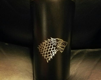 Game of thrones house Stark Direwolf tumbler powder coated black laser engraved Ozark 20 Oz tumbler like YETI coffee