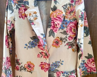 Vintage Cathy Daniels Floral Long Blazer Size small