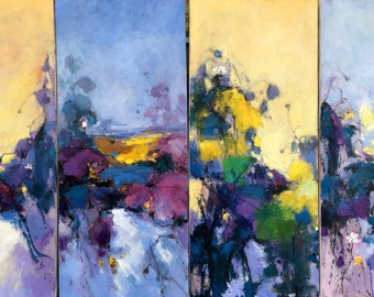 4 panels of waterlily oil painting 130