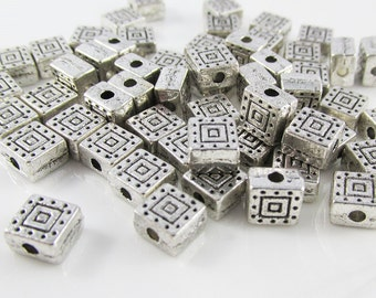 50pcs Antique Silver Square Spacer Beads Tibetan Style 6x4mm Hole 1mm