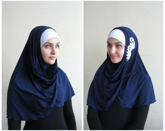 Denim lase Hijab Two Piece,Al Amira style,dark blue Hijab,Pret A Porter Hijab, hijab with rhinestones, prayer scarf, islamic scarf, eid gift