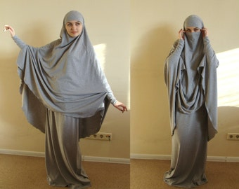 Franch khimar gray suit, Muslim sport suit, Maxi skirt, Islamic dress, Long hijab, Stylish Sport Burqa, Gray Niqab, Islam cover