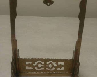 Antique Chinese Engraved Brass Hanging Rice Paper Picture Frame