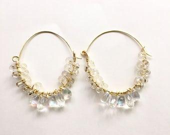 Cristal chandelier hoops earrings