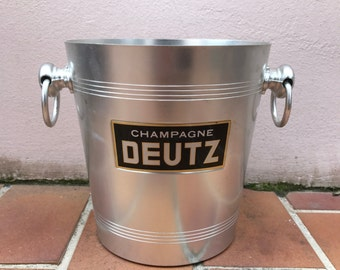 Vintage French Champagne French Ice Bucket Cooler Made in France DEUTZ