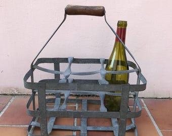 ANTIQUE FRENCH Handmade Metal 6 zinc Bottle Wine Carrier Basket 1503201713