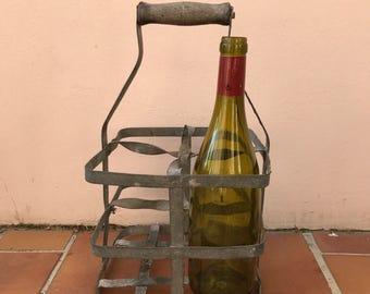 ANTIQUE FRENCH Handmade Metal 4 zinc Bottle Wine Carrier Basket 2703201727