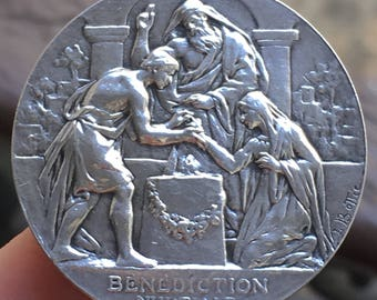 Bride and Groom, Cherubs Marriage Medal Sterling Silver Antique Hallmarked French Cornucopia 1880- 1907 Signed L. Bottée