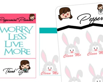 Clean the rabbit cage, Tracking Stickers, Planner Stickers{#153}