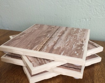 Barn wood tile coasters-chippy white-Birthday Gift-Mother's Day Gift-Anniversary Gift-Best Friend Gift-Home Decor-Christmas Gift