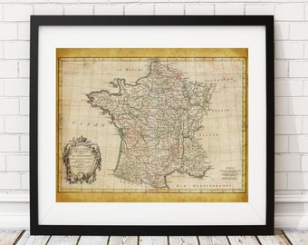 France Map Print, Vintage Map Art, Antique Map, Wall Art, History Gift, Map of France, Paris France, French Art, French Poster, France Art