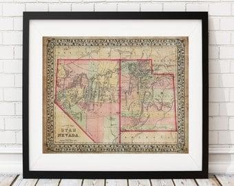 Utah Map, Nevada Map, Vintage Map Art, Antique Map Print, Old Maps, Map of Utah, Map of Nevada, State Maps, Housewarming Gift, State Maps