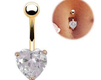 Gold heart belly button ring