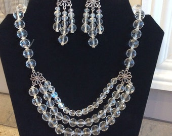22' Swarovski Crystal Clear AB Necklace and FREE Matching Earrings