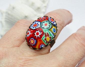 Ring, finger ring, bracelets, bronze with Millefiori Murano Millefiori bead, Murano Glass, Cabochon, flower ring,