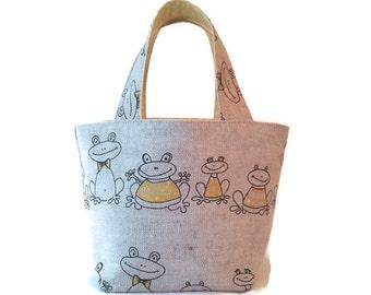 Lemony Frogs... – Little Girls Handbag / Childs Handbag / Childs Purse / Little Girls Purse / Childs Tote / Little Girls Tote
