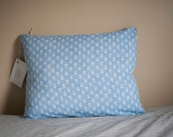 Blue Floral Reclaimed Fabric Pillow