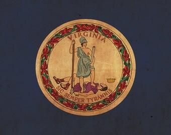 Vintage Virginia Flag on Canvas, Virginia, Wall Art, Virginia Photo, Virginia Print,  Fine Art, Old Dominion Flag, Single or Multiple Panels