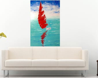 Large Sailboat Painting Modern Interior Painting Art Work Palette Knife Office Wall Art Canvas Red Sail Painting Oil Seascape Ukrainian Art