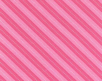 Up & Away Balloon Stripe Pink Fabric by Michael Miller