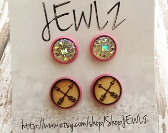 10MM Iridescent and Arrows in Pink Double Earring Set
