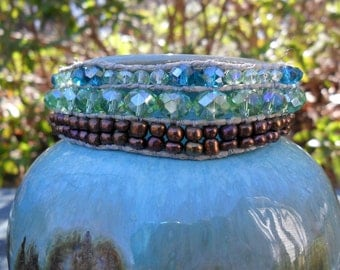 Green & Brass Layered Bracelet