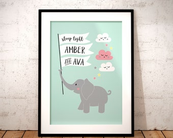 Cute Elephant Personalised Children's Print - children's art, nursery art print, cute elephant print, nursery decor, baby shower gift