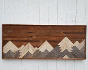 "Past Reclaimed Wood Wall Art, Twin Headboard, Mountain Range, Bedroom Furniture, Decor, Lath Art, Geometric, 17""t x 41""w, Barn Wood Art"