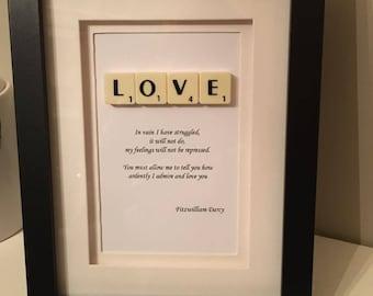 Mr Fitzwilliam Darcy Pride and Prejudice Scrabble Quote Picture