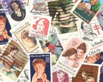 30 Women Vintage Postage Stamps Used