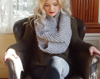 White/Grey Knitted Infinity Scarf/ Fall Fashion