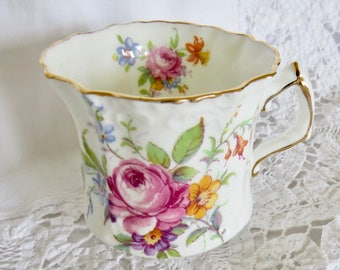 Hammersley & Co Orphan Bone China Flat Bottomed Cup Floral Bouquets Pattern 4487 Replacement Cup Only No Saucer