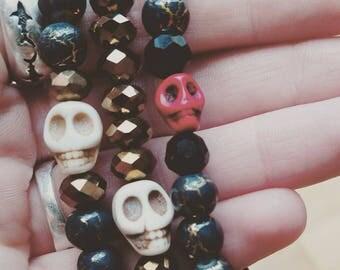 Red and Cream Skull Bracelets