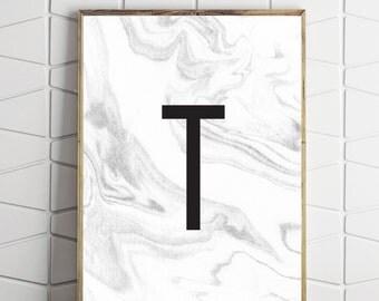 marble letter decor, marble monogram art, marble t art, typography decor, typography monogram, letter t art, capital t art