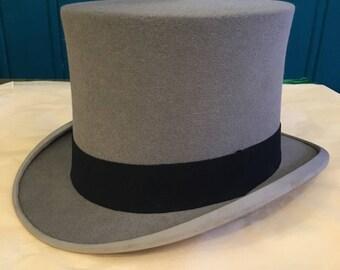 Kirsop of Glasgow Grey Fur Felt Top Hat 1910s - 1920s