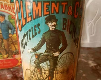 French Vintage Advertising Tin - Container - CLEMENT & CIE.    Tricycle - Bicycles - Paris - France