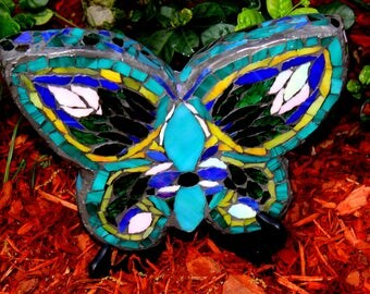 "Mosaic Butterfly, ""The Green Butterfly"" Mosaic Art, Mosaic Garden Art,  Handmade on of a Kind. Home/Garden Decor"