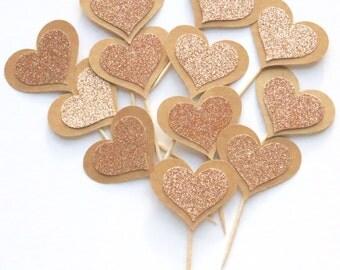 Rose gold cupcake picks, rose gold glitter heart cupcake toppers, rose gold picks, rose gold cupcake toppers, i do cupcake topper, set of 12