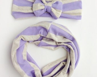 Lavender Baby tube scarf and headband Set baby how headband toddler girl scarf baby scarf baby turban headband Baby Shower Gift