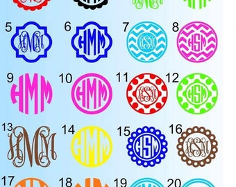 Cute Car Decal-Monogrammed Decal-Initals decal-