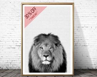 Nursery print, Woodlands print, Lion Print, Nursery, Safari animal print, Kids Room Print, Wild animal print, Black and White Poster
