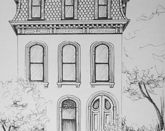 Custom Pen and Ink House Portrait Detailed Victorian 8.5x11 Black and White