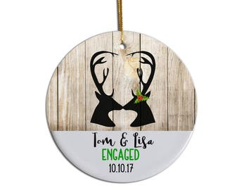 Engaged Ornament, Anniversary Ornament, Deer Ornament, Custom Ornament, Just Engaged Ornament, First Year Married Ornament, Wedding Ornament
