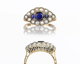 Antique Ring - Victorian Edwardian Antique Sapphire Ring 14k Gold Natural Pearls, Victorian Eye Ring, Belle Epoque Antique Jewelry 6.75