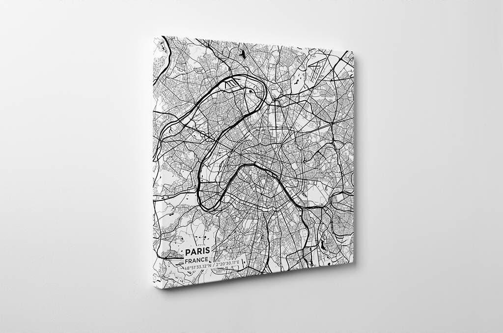 Gallery Wrapped Map Canvas Of Paris France Subtle Black Ink: Paris Map Canvas At Infoasik.co