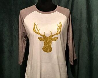 Raglan Tee w/ Glitter Gold Deer Head