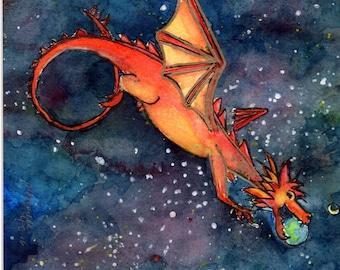 Summer Dragon Watercolor Print Digital Download Art 8 x 10 in
